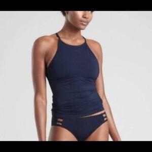 Athleta Navy Tankini High Neck Tie Back Medium
